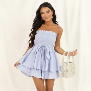 Ruffle Mutual Love Playsuit Romper In Blue